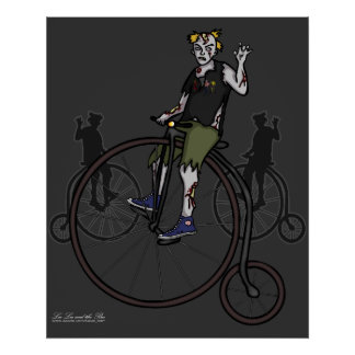 Zombies on Penny Farthings, print