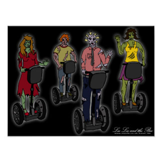Zombies on Segways, print Poster
