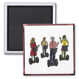 Zombies on Segways, square white magnet