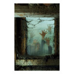 zombies outside a window print