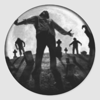 Zombies Rising From The Grave Classic Round Sticker