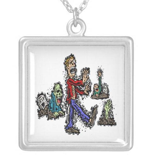 Zombies Square Pendant Necklace