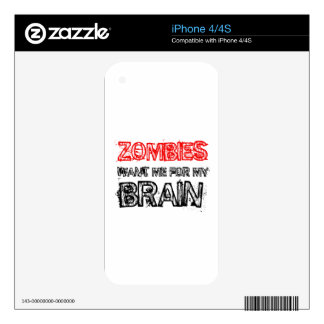 zombies want me for my brain skins for iPhone 4