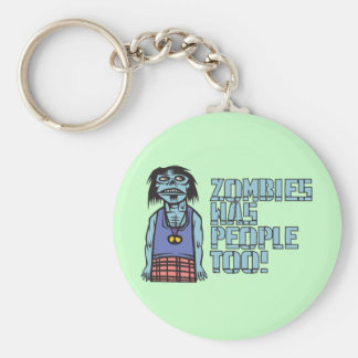 Zombies Was People Too Basic Round Button Keychain