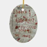 zombies wish Double-Sided oval ceramic christmas ornament