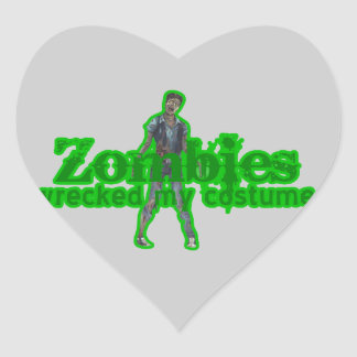 Zombies Wrecked My Costume - Halloween Heart Sticker