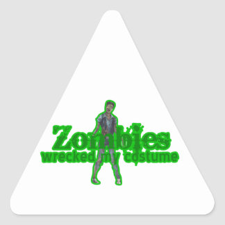 Zombies Wrecked My Costume - Halloween Triangle Sticker