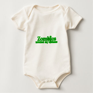 Zombies Wrecked My Costume Text Halloween Baby Creeper