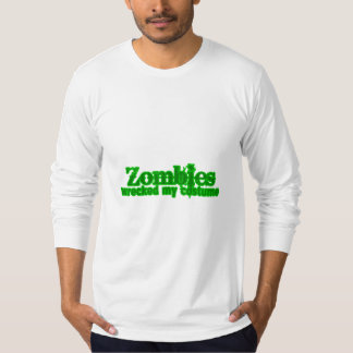 Zombies Wrecked My Costume Text Halloween T Shirts