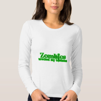 Zombies Wrecked My Costume Text Halloween Tshirts