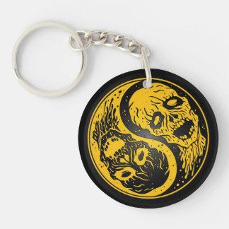 Zombis amarillo y negro de Yin Yang Llavero Redondo Acrílico A Doble Cara