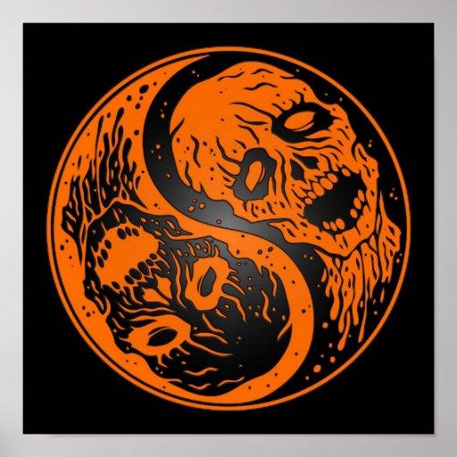 Zombis anaranjados y negros de Yin Yang Póster