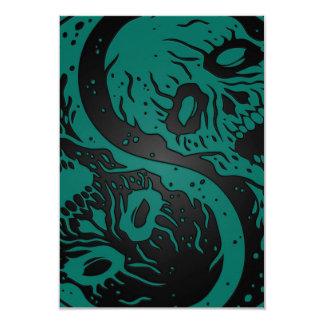 Zombis azules y negros del trullo de Yin Yang Invitacion Personal