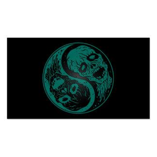 Zombis azules y negros del trullo de Yin Yang Tarjeta Personal