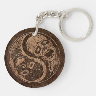 Zombis de Yin Yang con el efecto de madera del gra Llaveros