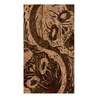 Zombis de Yin Yang con el efecto de madera del gra Plantilla De Tarjeta De Visita