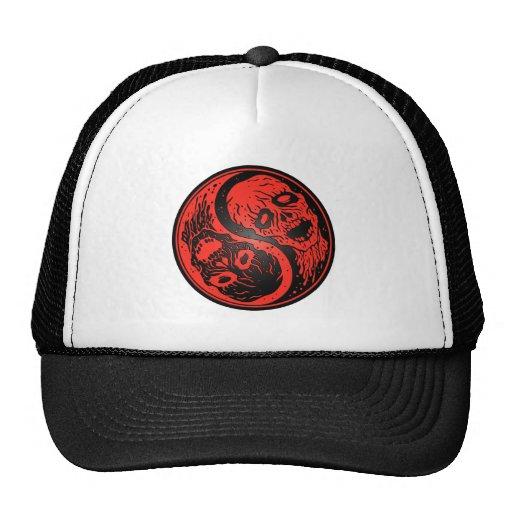Zombis de Yin Yang rojos y negros Gorras