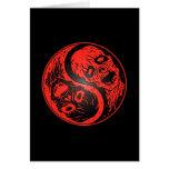 Zombis de Yin Yang rojos y negros Tarjetas