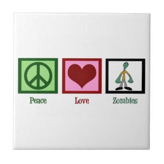 Zombis del amor de la paz azulejo cuadrado pequeño