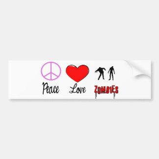 zombis del amor de la paz pegatina de parachoque