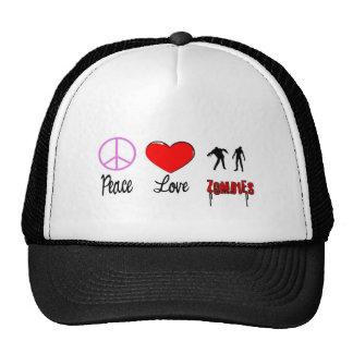 zombis del amor de la paz gorro de camionero