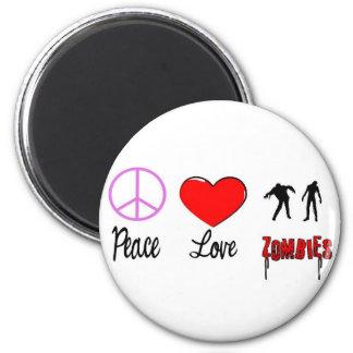 zombis del amor de la paz iman de nevera