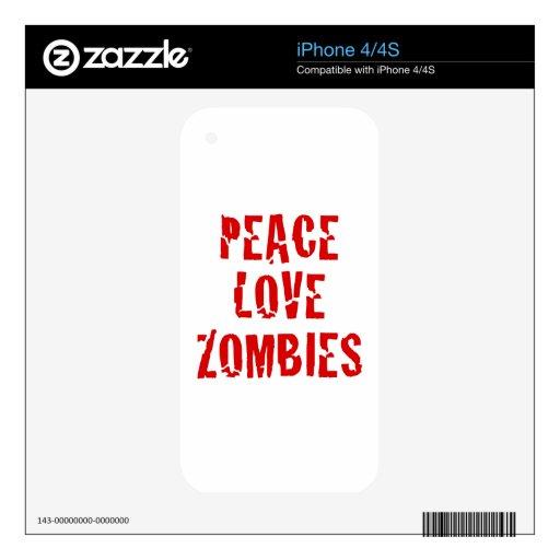 Zombis del amor de la paz calcomanía para el iPhone 4