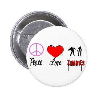 zombis del amor de la paz pin redondo de 2 pulgadas