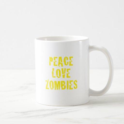 Zombis del amor de la paz taza básica blanca