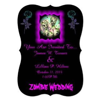Zombis del boda invitación 12,7 x 17,8 cm