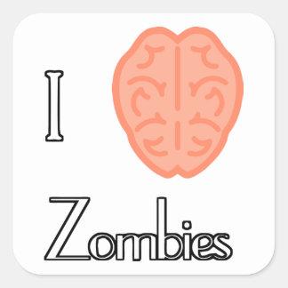Zombis del cerebro I Pegatina Cuadrada