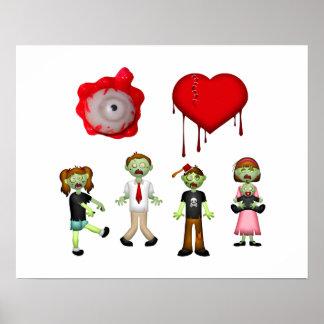 Zombis del corazón del ojo póster