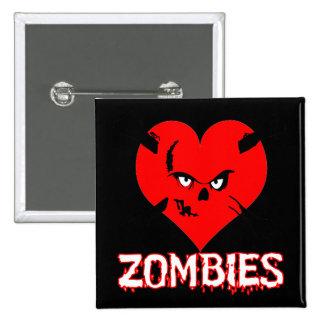 Zombis del corazón I - botón cuadrado Pin Cuadrado