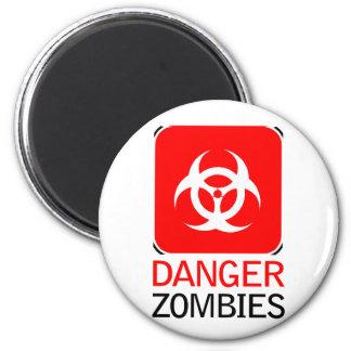 Zombis del peligro imán redondo 5 cm
