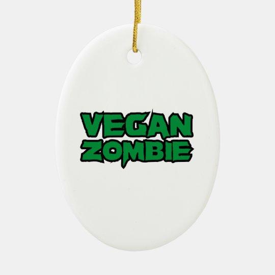 Zombis del vegano adorno navideño ovalado de cerámica