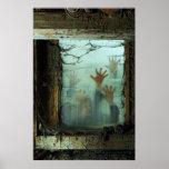 zombis fuera de una ventana póster