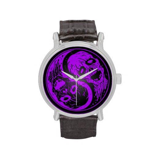 Zombis púrpuras y negros de Yin Yang Reloj