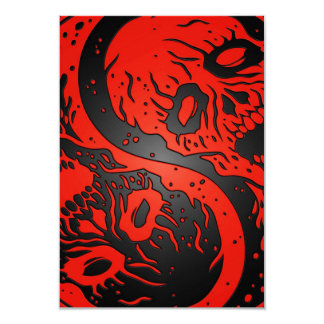 Zombis rojos y negros de Yin Yang Invitacion Personalizada