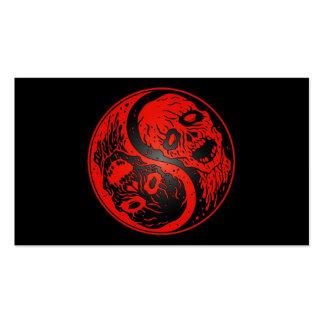 Zombis rojos y negros de Yin Yang Plantillas De Tarjeta De Negocio