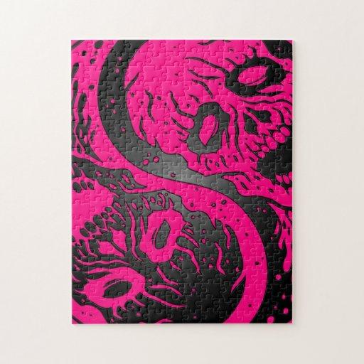 Zombis rosados y negros de Yin Yang Rompecabeza Con Fotos