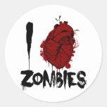 zombis sangrientos del corazón i pegatina redonda