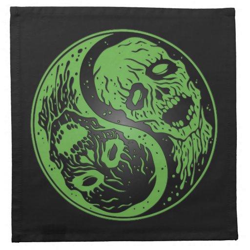 Zombis verdes y negros de Yin Yang Servilletas Imprimidas
