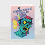 """Zombody is Having a Birthday Zombie Card with Ball<br><div class=""""desc"""">Funny birthday card with green zombie with a birthday hat and balloons. Perfect card for the zombie lover. Design © 2014 Julia Bryant.</div>"""
