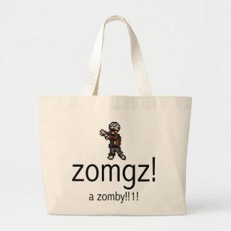 zomgz! a zomby!!1! jumbo tote bag