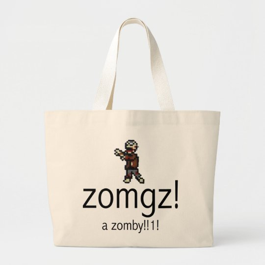 zomgz! a zomby!!1! large tote bag