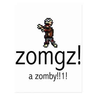 zomgz! a zomby!!1! postcard