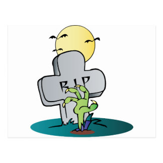 Zomie Hand Coming Out Under A Tombstone Postcard