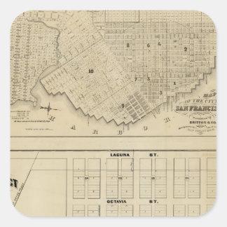 Zona de Beideman, San Francisco Pegatina Cuadrada