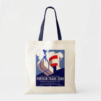 Zona de comercio exterior bolsas lienzo
