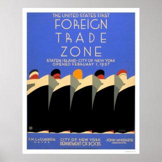 Zona de comercio exterior de NY WPA 1937 Póster